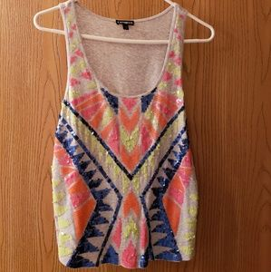 Colorful Beaded & Sequin Express Tank Sm